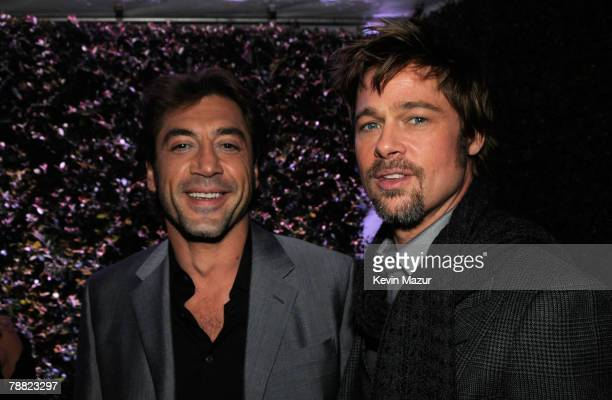 Actors Brad Pitt and Javier Bardem pose inside at the 13th ANNUAL CRITICS' CHOICE AWARDS at the Santa Monica Civic Auditorium on January 7 2008 in...