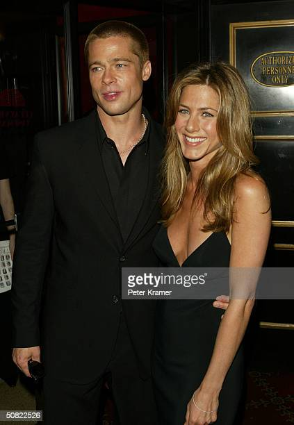 Actors Brad Pitt and Jennifer Aniston attend the premiere of 'Troy' May 10 2004 in New York City