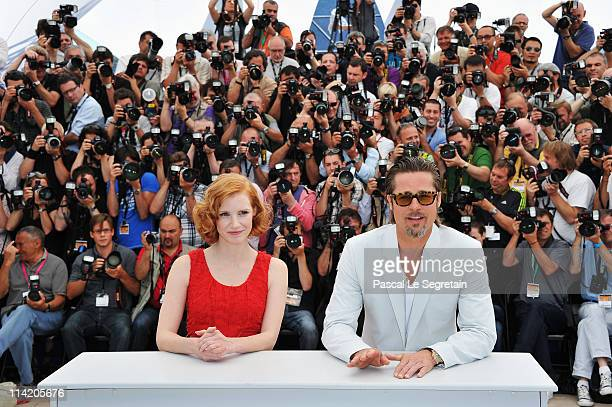 Actors Brad Pitt and Jessica Chastain attend 'The Tree Of Life' photocall during the 64th Annual Cannes Film Festival at Palais des Festivals on May...