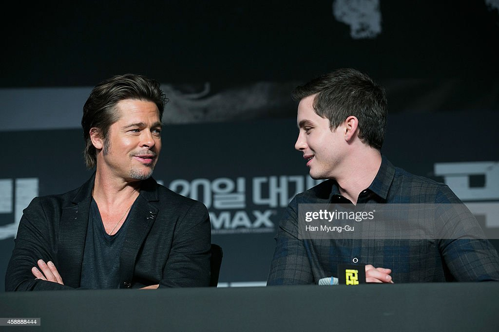 Actors Brad Pitt and Logan Lerman attend the 'Fury' press conference at Conrad Hotel on November 13, 2014 in Seoul, South Korea. The film will open on November 20, in South Korea.