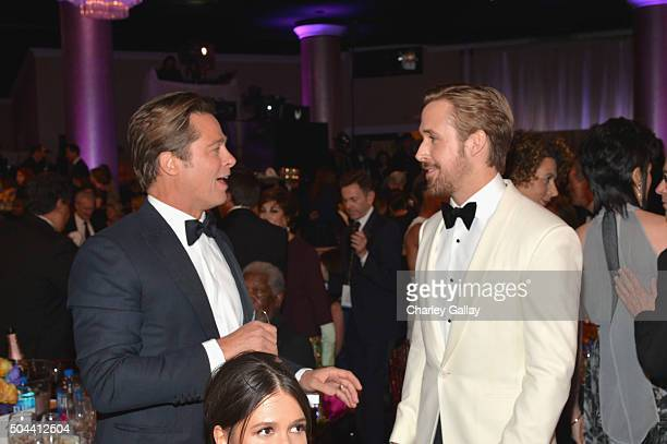 Actors Brad Pitt and Ryan Gosling attend the 73rd annual Golden Globe Awards sponsored by FIJI Water at The Beverly Hilton Hotel on January 10 2016...
