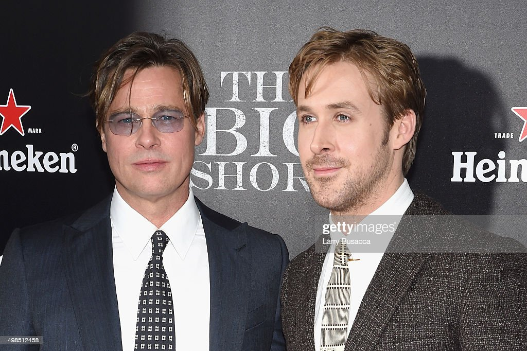 Actors Brad Pitt (L) and Ryan Gosling attend 'The Big Short' Premiere at Ziegfeld Theatre on November 23, 2015 in New York City.