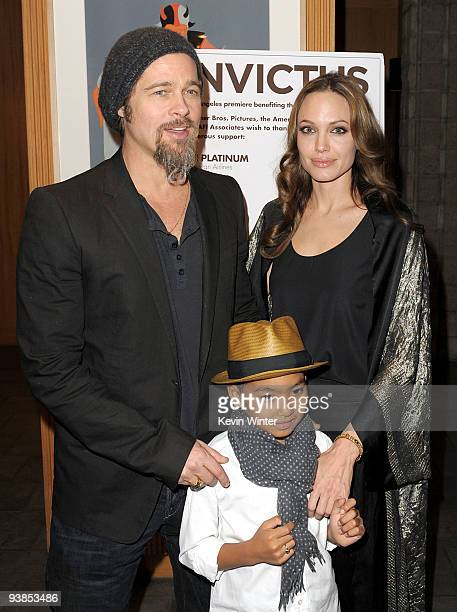Actors Brad Pitt Angelina Jolie and their son Maddox arrive at the premiere of Warner Bros Pictures' and Spyglass Entertainment's 'Invictus' at the...