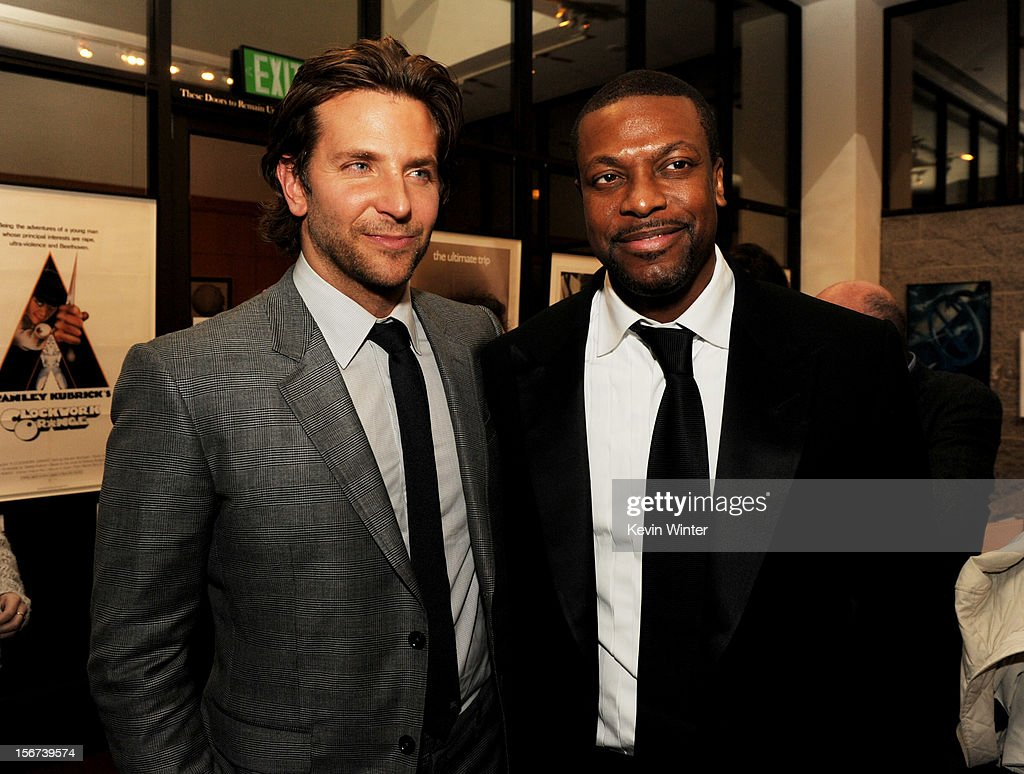 Actors <a gi-track='captionPersonalityLinkClicked' href=/galleries/search?phrase=Bradley+Cooper&family=editorial&specificpeople=680224 ng-click='$event.stopPropagation()'>Bradley Cooper</a> (L) and <a gi-track='captionPersonalityLinkClicked' href=/galleries/search?phrase=Chris+Tucker&family=editorial&specificpeople=203254 ng-click='$event.stopPropagation()'>Chris Tucker</a> pose at the after party for a screening of The Weinstein Company's 'Silver Lining's Playbook' at the Academy of Motion Picture Arts and Sciences on November 19, 2012 in Beverly Hills, California.