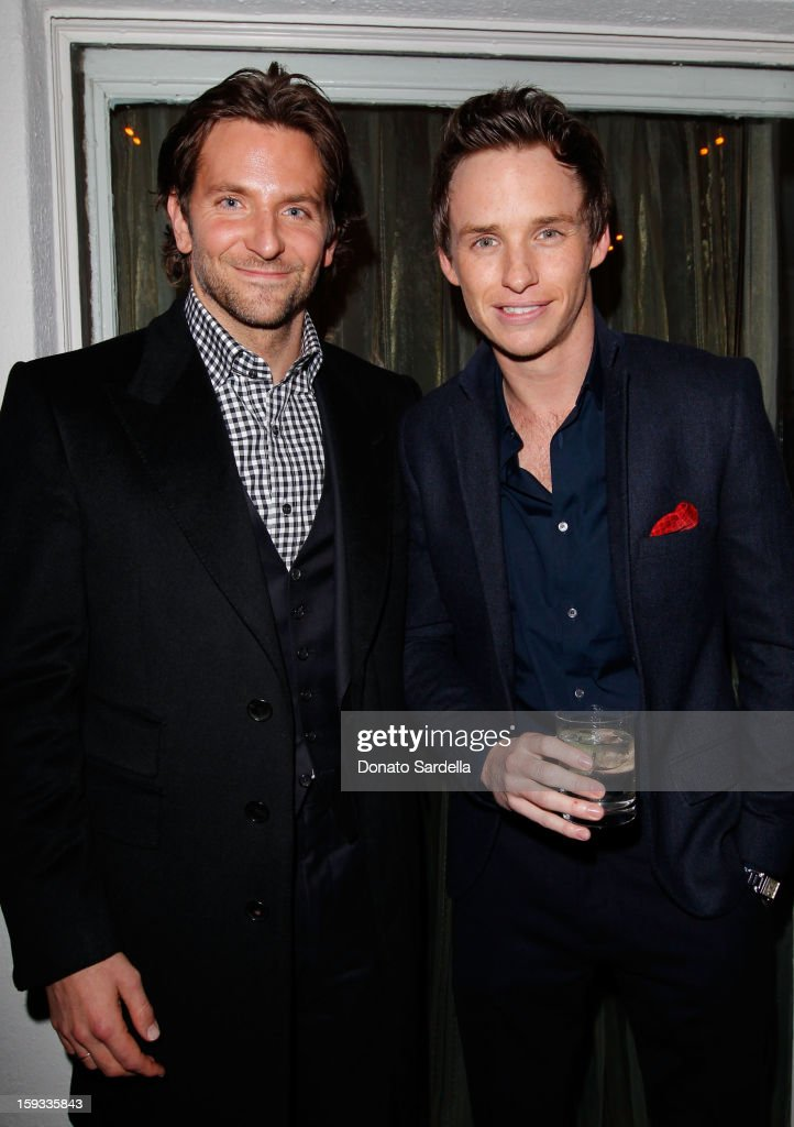 """Actors <a gi-track='captionPersonalityLinkClicked' href=/galleries/search?phrase=Bradley+Cooper&family=editorial&specificpeople=680224 ng-click='$event.stopPropagation()'>Bradley Cooper</a> and <a gi-track='captionPersonalityLinkClicked' href=/galleries/search?phrase=Eddie+Redmayne&family=editorial&specificpeople=2554844 ng-click='$event.stopPropagation()'>Eddie Redmayne</a> attend W Magazine's 'Best Performances Issue"""" and the Golden Globe Awards celebration with W Magazine, Cadillac and Dom Pérignon at Chateau Marmont on January 11, 2013 in Los Angeles, California."""