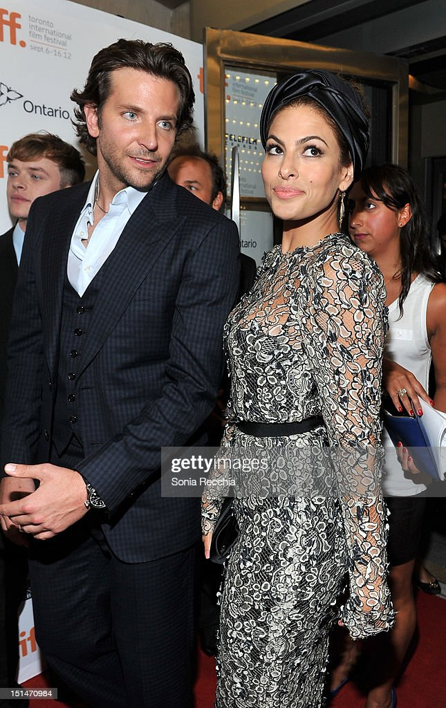 Actors Bradley Cooper (L) and Eva Mendes attend 'The Place Beyond The Pines' premiere during the 2012 Toronto International Film Festival at Princess of Wales Theatre on September 7, 2012 in Toronto, Canada.