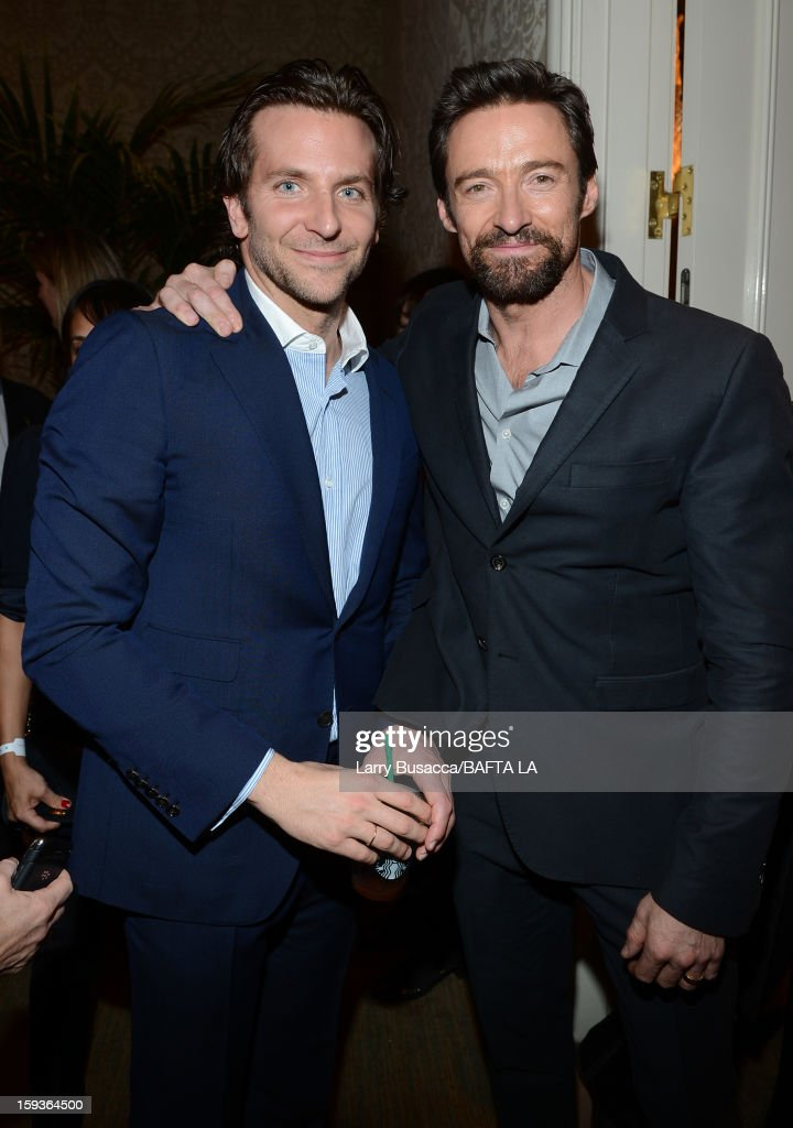 Actors <a gi-track='captionPersonalityLinkClicked' href=/galleries/search?phrase=Bradley+Cooper&family=editorial&specificpeople=680224 ng-click='$event.stopPropagation()'>Bradley Cooper</a> (L) and <a gi-track='captionPersonalityLinkClicked' href=/galleries/search?phrase=Hugh+Jackman&family=editorial&specificpeople=202499 ng-click='$event.stopPropagation()'>Hugh Jackman</a> attend the BAFTA Los Angeles 2013 Awards Season Tea Party held at the Four Seasons Hotel Los Angeles on January 12, 2013 in Los Angeles, California.