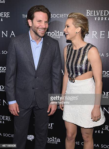 Actors Bradley Cooper and Jennifer Lawrence attend a screening of 'Serena' hosted by Magnolia Pictures and The Cinema Society with Dior Beauty on...