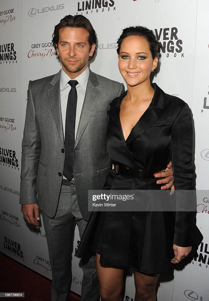 Actors Bradley Cooper and Jennifer Lawrence attend a screening of The Weinstein Company's 'Silver Linings Playbook' at the Academy of Motion Picture Arts and Sciences on November 19, 2012 in Beverly Hills, California.