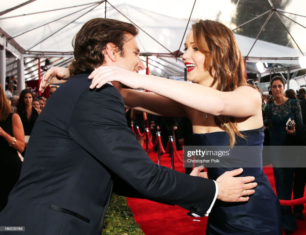 Actors Bradley Cooper and Jennifer Lawrence attend the 19th Annual Screen Actors Guild Awards at The Shrine Auditorium on January 27, 2013 in Los Angeles, California. (Photo by Christopher Polk/WireImage) 23116_012_0541.JPG