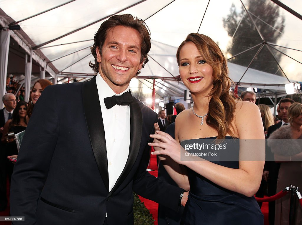Actors <a gi-track='captionPersonalityLinkClicked' href=/galleries/search?phrase=Bradley+Cooper&family=editorial&specificpeople=680224 ng-click='$event.stopPropagation()'>Bradley Cooper</a> and <a gi-track='captionPersonalityLinkClicked' href=/galleries/search?phrase=Jennifer+Lawrence&family=editorial&specificpeople=1596040 ng-click='$event.stopPropagation()'>Jennifer Lawrence</a> attend the 19th Annual Screen Actors Guild Awards at The Shrine Auditorium on January 27, 2013 in Los Angeles, California. (Photo by Christopher Polk/WireImage) 23116_012_0573.JPG