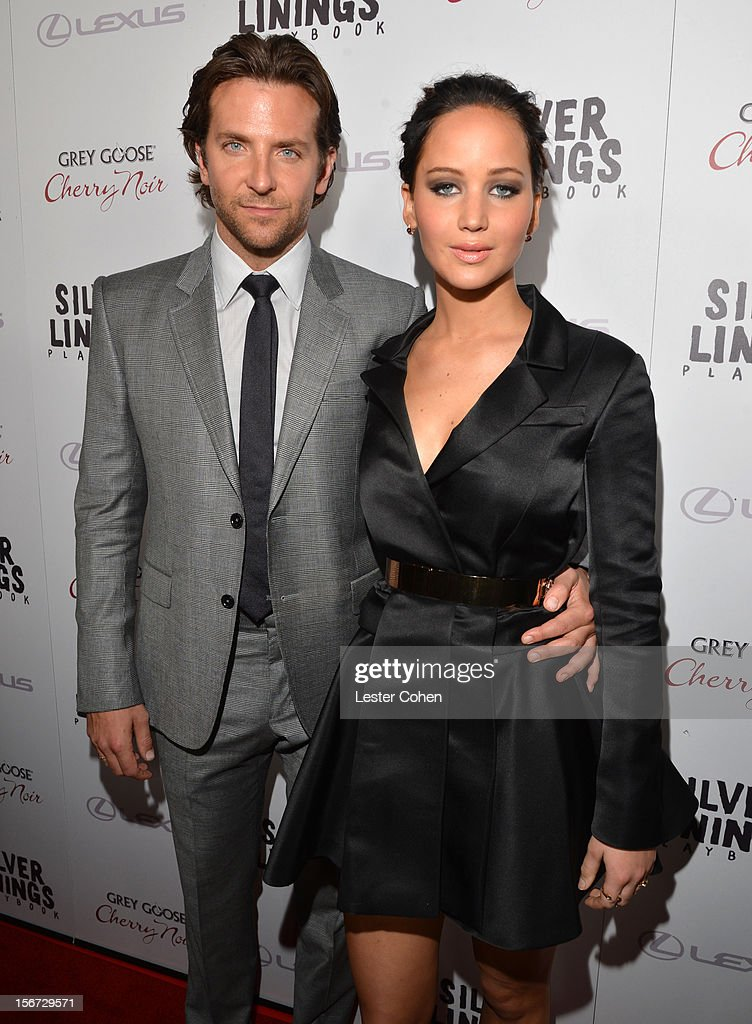 Actors Bradley Cooper (L) and Jennifer Lawrence attend the ''Silver Linings Playbook' Los Angeles special screening at the Academy of Motion Picture Arts and Sciences on November 19, 2012 in Beverly Hills, California.