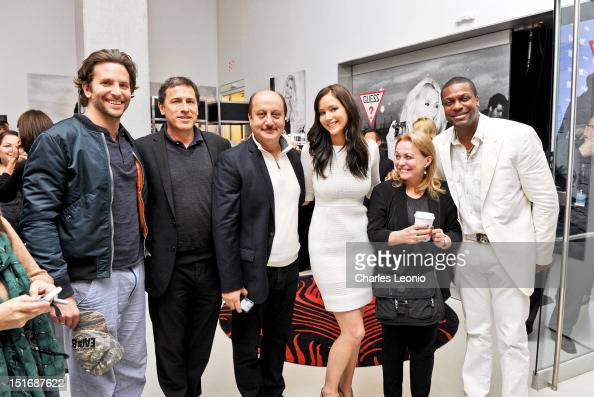 Actors Bradley Cooper David O Russell actor Anupam Kher actress Jennifer Lawrence Jacki Weaver and Chris Tucker attend Guess Portrait Studio on Day 4...