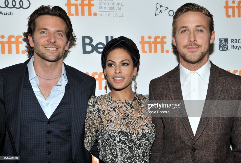 Actors (L-R) <a gi-track='captionPersonalityLinkClicked' href=/galleries/search?phrase=Bradley+Cooper&family=editorial&specificpeople=680224 ng-click='$event.stopPropagation()'>Bradley Cooper</a>, <a gi-track='captionPersonalityLinkClicked' href=/galleries/search?phrase=Eva+Mendes&family=editorial&specificpeople=194937 ng-click='$event.stopPropagation()'>Eva Mendes</a> and <a gi-track='captionPersonalityLinkClicked' href=/galleries/search?phrase=Ryan+Gosling&family=editorial&specificpeople=214557 ng-click='$event.stopPropagation()'>Ryan Gosling</a> attend 'The Place Beyond The Pines' premiere during the 2012 Toronto International Film Festival at Princess of Wales Theatre on September 7, 2012 in Toronto, Canada.