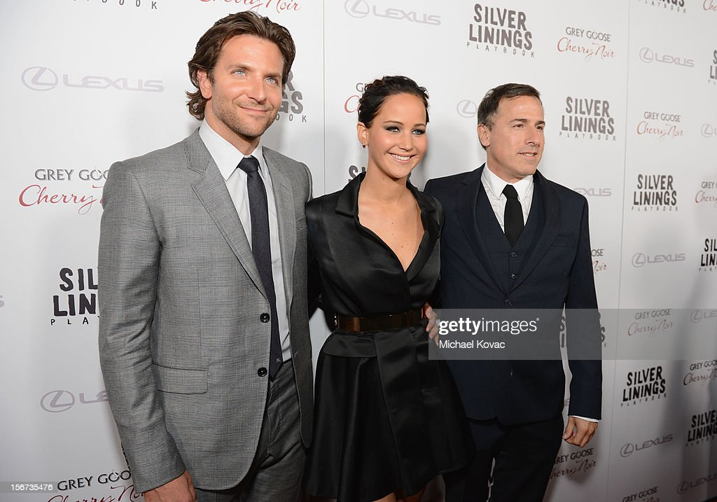 Actors <a gi-track='captionPersonalityLinkClicked' href=/galleries/search?phrase=Bradley+Cooper&family=editorial&specificpeople=680224 ng-click='$event.stopPropagation()'>Bradley Cooper</a>, <a gi-track='captionPersonalityLinkClicked' href=/galleries/search?phrase=Jennifer+Lawrence&family=editorial&specificpeople=1596040 ng-click='$event.stopPropagation()'>Jennifer Lawrence</a> and director <a gi-track='captionPersonalityLinkClicked' href=/galleries/search?phrase=David+O.+Russell&family=editorial&specificpeople=215306 ng-click='$event.stopPropagation()'>David O. Russell</a> attend a special screening of 'Silver Linings Playbook' presented by The Weinstein Company sponsored by Grey Goose and Lexus at AMPAS Samuel Goldwyn Theater on November 19, 2012 in Beverly Hills, California.