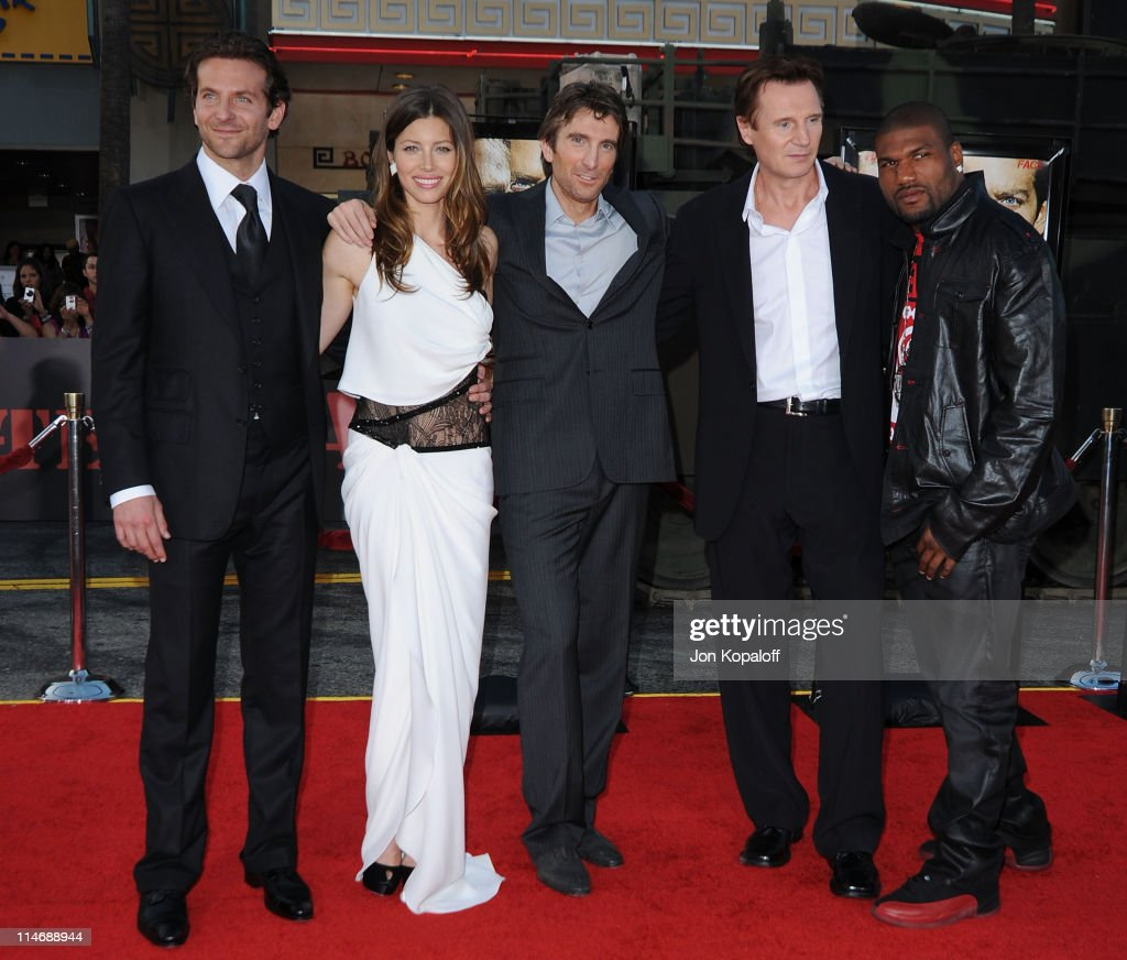 Actors Bradley Cooper Jessica Biel Sharlto Copley Liam Neeson and Quinton 'Rampage' Jackson arrive at the Los Angeles Premiere 'The ATeam' at...