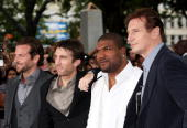 Actors Bradley Cooper Sharlto Copey Quinton 'Rampage' Jackson and Liam Neeson attend the UK Film Premiere of 'The ATeam' at Empire Leicester Square...