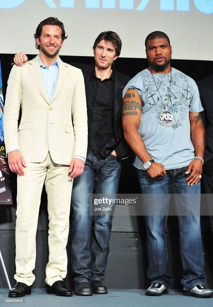 Actors Bradley Cooper Sharlto Copley and Quinton Jackson arrive at 'The ATeam' movie premiere on August 16 2010 in Tokyo Japan