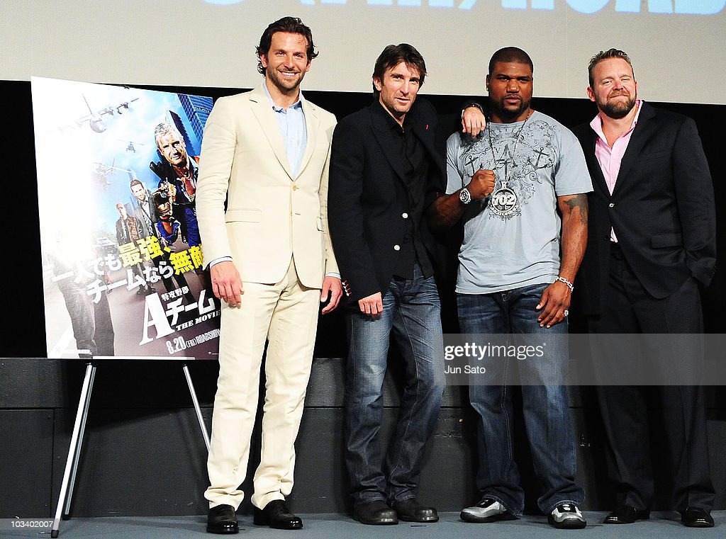 Actors Bradley Cooper Sharlto Copley Quinton Jackson and director Joe Carnahan arrive at 'The ATeam' movie premiere on August 16 2010 in Tokyo Japan
