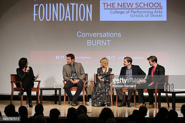 Actors Bradley Cooper Sienna Miller Daniel Bruhl and Sam Keeley chat with Jessica Shaw during the SAG Foundation Conversations Screening and QA with...