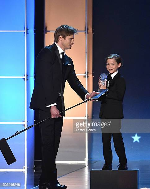 Actors Bradley James and Jacob Tremblay winner of Best Young Actor/Actress for 'Room' onstage during the 21st Annual Critics' Choice Awards at Barker...