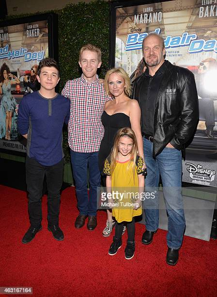 Actors Bradley Steven Perry Jason Dolley LeighAllyn Baker Mia Talerico and Eric Allen Kramer attends the Los Angeles premiere of the Disney Channel...