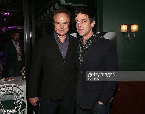 Actors Bradley Whitford and BJ Novak attend a special performance and singalong with Richard Sherman and the cast of Disney's 'Saving Mr Banks' at...
