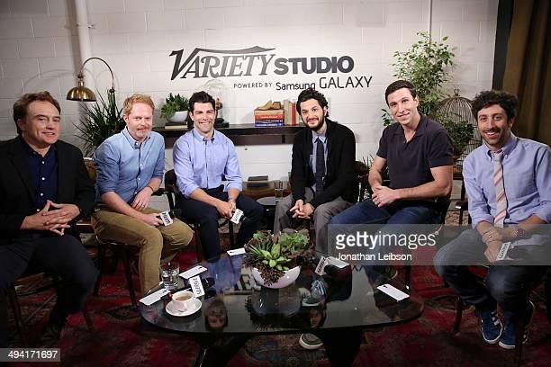 Actors Bradley Whitford Jesse Tyler Ferguson Max Greenfield Ben Schwartz Pablo Schreiber and Simon Helberg attend the Variety Studio powered by...