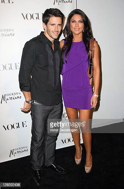 Actors Brandon Beemer and Nadia Bjorlin arrive at the GUESS By Marciano VOGUE 2011 Holiday Collection Debut at Mr C Beverly Hills on October 13 2011...