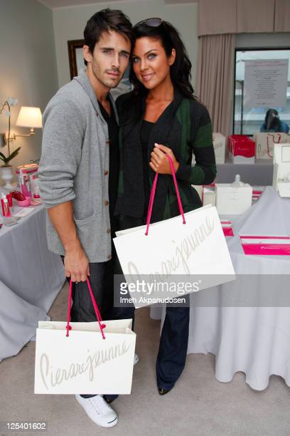 Actors Brandon Beemer and Nadia Bjorlin attend the Nathalie Dubois PreEmmy Gift Suite at Luxe Hotel on September 16 2011 in Beverly Hills California
