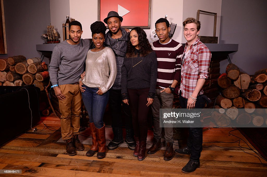 Actors Brandon P Bell, Teyonah Parris, director Justin Simien, Tessa Thompson, Tyler James Williams and Kyle Gallner attends the YouTube 'Dear White People' Reception on January 20, 2014 in Park City, Utah.