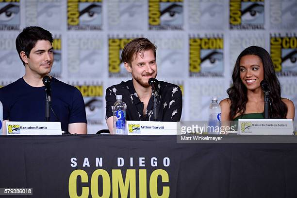 Actors Brandon Routh Arthur Darvill and Maisie RichardsonSellers attend DC's 'Legends Of Tomorrow' Special Video Presentation and QA during ComicCon...