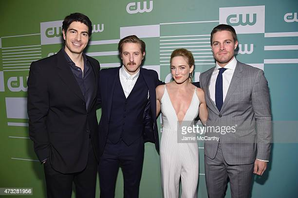 Actors Brandon Routh Arthur Darvill Caity Lotz and Stephen Amell attend the CW Network's 2015 Upfront at the London Hotel on May 14 2015 in New York...