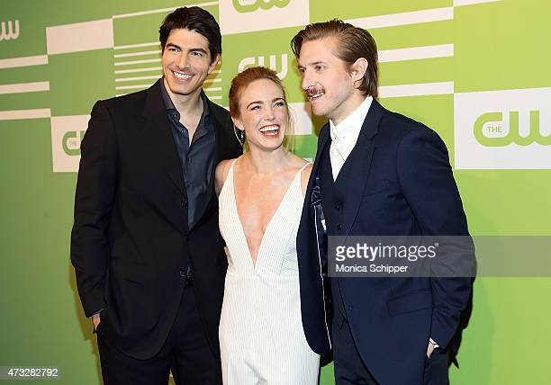 Actors Brandon Routh Caity Lotz and Arthur Darvill attend The CW Network's New York 2015 Upfront Presentation at The London Hotel on May 14 2015 in...
