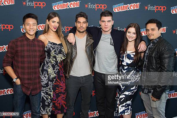 Actors Brandon Soo Hoo Eiza Gonzalez DJ Cotrona Zane Holtz Madison Davenport and Jesse Garcia pose in the press room for Marvel's 'From Dusk till...