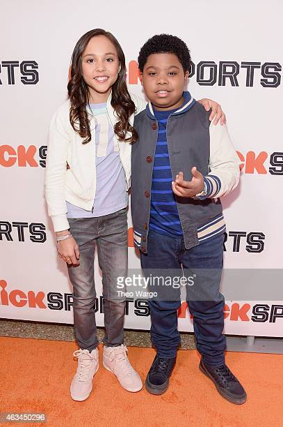 Actors Breanna Yde and Benjamin Flores Jr attend NICKSPORTS special screening and party for Little Ballers Documentary at Chelsea Piers on February...