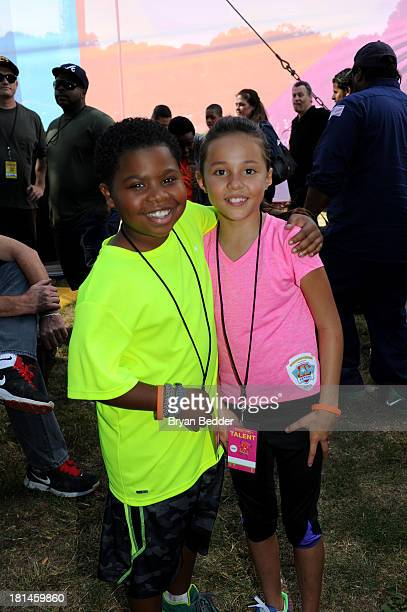 "Actors Breanna Yde and Benjamin ""Lil PNut"" Flores Jr pose for a photo during activities at Nickelodeon's 10th Annual Worldwide Day of Play in..."
