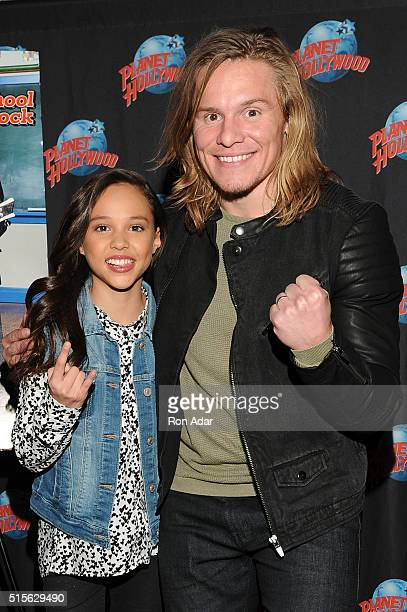 Actors Breanna Yde And Tony Cavalero visit Planet Hollywood Times Square on March 14 2016 in New York City