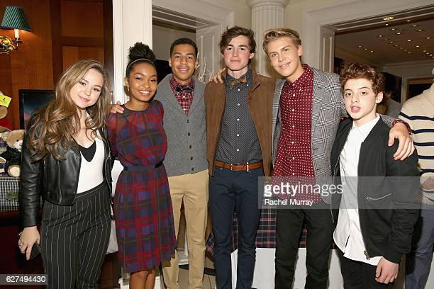 Actors Brec Bassinger Yara Shahidi Marcus Scribner Spencer List Aidan Alexander and Thomas Barbusca attend Brooks Brothers holiday celebration with...
