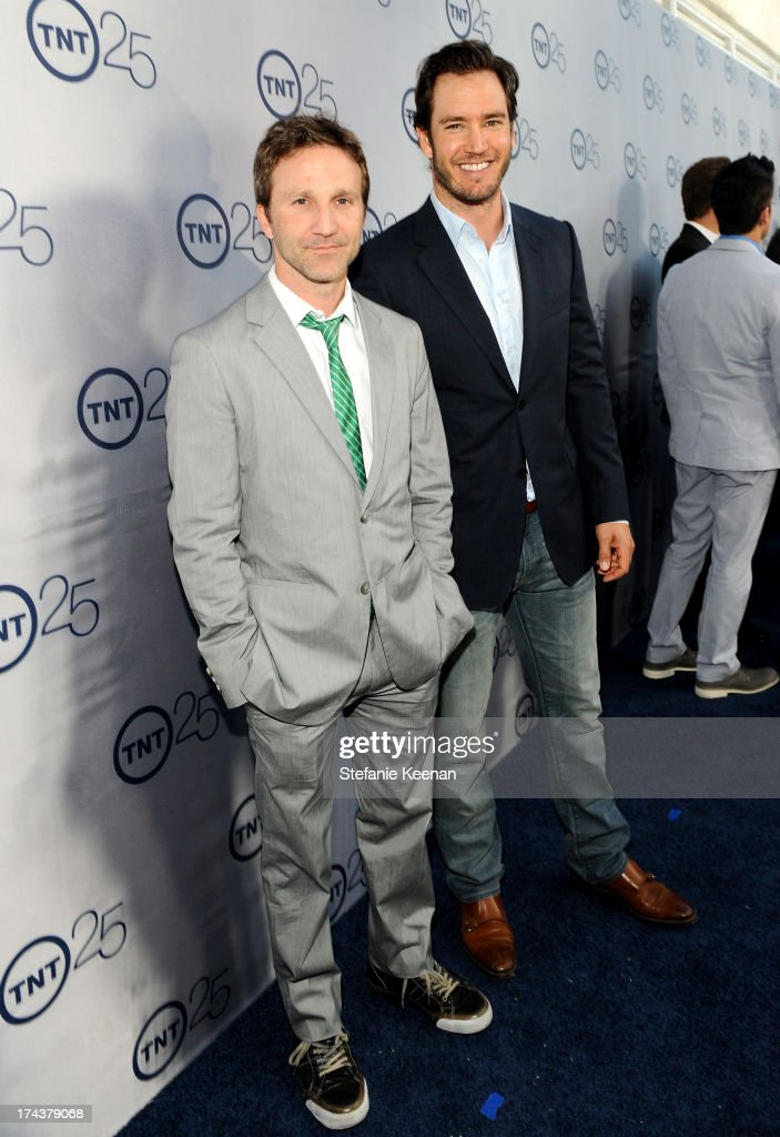 Actors <a gi-track='captionPersonalityLinkClicked' href=/galleries/search?phrase=Breckin+Meyer&family=editorial&specificpeople=1550680 ng-click='$event.stopPropagation()'>Breckin Meyer</a> and <a gi-track='captionPersonalityLinkClicked' href=/galleries/search?phrase=Mark-Paul+Gosselaar&family=editorial&specificpeople=240121 ng-click='$event.stopPropagation()'>Mark-Paul Gosselaar</a> attend TNT 25TH Anniversary Party during Turner Broadcasting's 2013 TCA Summer Tour at The Beverly Hilton Hotel on July 24, 2013 in Beverly Hills, California.