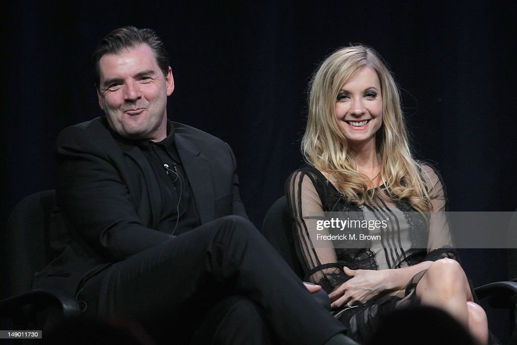 Actors Brendan Coyle (L) and Joann Froggatt speak onstage at the Masterpiece Classic 'Downton Abbey, Season 3' panel during day 1 of the PBS portion of the 2012 Summer TCA Tour held at the Beverly Hilton Hotel on July 21, 2012 in Beverly Hills, California.