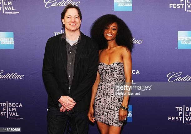 Actors Brendan Fraser and Yaya DaCosta walk the red carpet at the 'Whole Lotta Sole' Premiere the 2012 Tribeca Film Festival at the School of Visual...