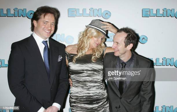 Actors Brendan Fraser Jennifer Coolidge and Denis O' Hare attend the after party following the Broadway opening night of 'Elling' on November 21 2010...