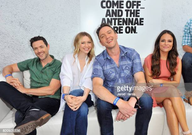 Actors Brendan Hines Valorie Curry Peter Serafinowicz and Yara Martinez at Amazon's 'The Tick' Activation Private Experience during ComicCon...