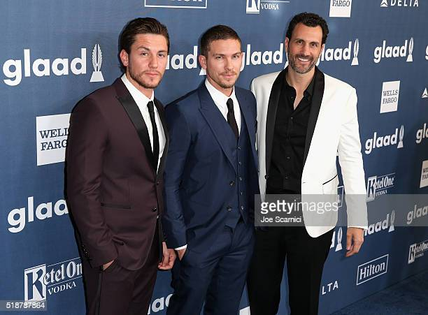 Actors Brent Antonello and Adam Senn and executive producer James LaRosa attend the 27th Annual GLAAD Media Awards hosted by Ketel One Vodka at the...