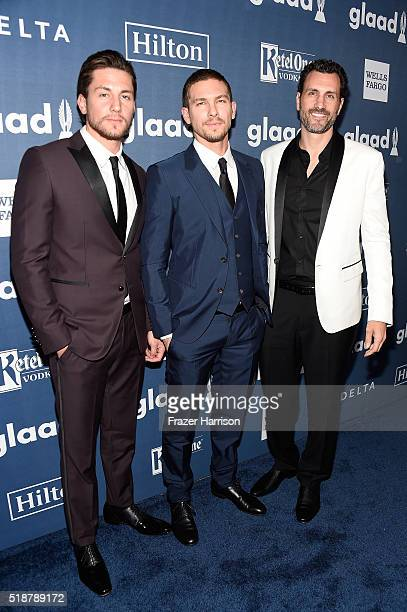 Actors Brent Antonello and Adam Senn and executive producer James LaRosa attends the 27th Annual GLAAD Media Awards at the Beverly Hilton Hotel on...