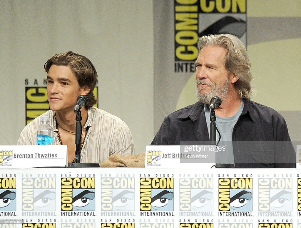 Actors Brenton Thwaites and Jeff Bridges attend the 'The Giver' presentation during ComicCon International 2014 at the San Diego Convention Center on...