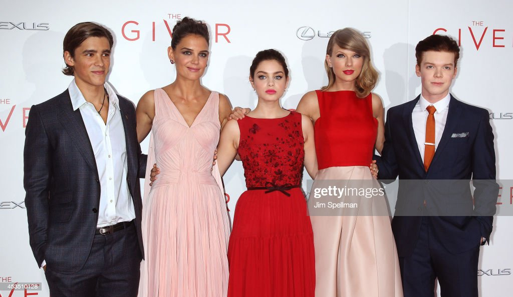 Actors Brenton Thwaites Katie Holmes Odeya Rushand Taylor Swift and Cameron Monaghan attend 'The Giver' premiere at Ziegfeld Theater on August 11...
