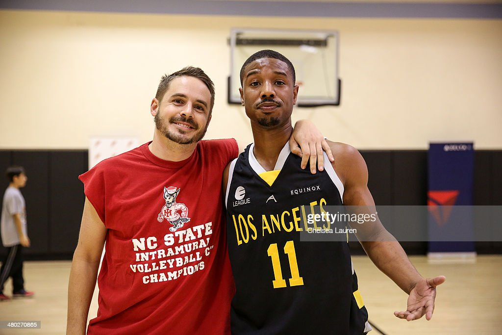 Actors Brett Claywell and Michael B Jordan attend the ELeague celebrity basketball game at Equinox Sports Club West LA on March 23 2014 in Los...