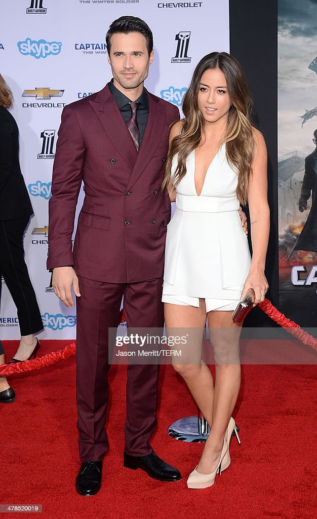 Actors Brett Dalton and Chloe Bennet arrive for the premiere of Marvel's 'Captain America: The Winter Soldier' at the El Capitan Theatre on March 13, 2014 in Hollywood, California.